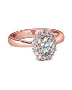 Rose Gold Halo Oval Cut Sterling Silver Ring