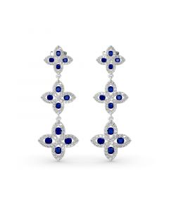 Lucky Flower Sterling Silver Drop Earrings