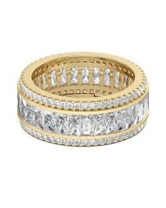 Gold Tone Radiant Cut Sterling Silver Women's Band