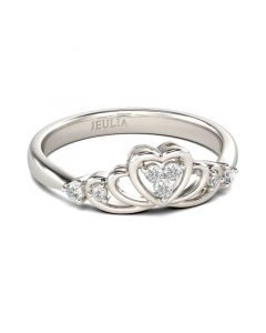 Heart Design Round Cut Sterling Silver Ring