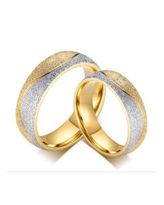 Two Tone Couple Rings Titanium Steel