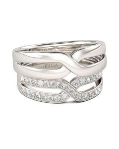 Crossover Round Cut Sterling Silver Band Set