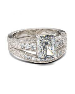 Milgrain Radiant Cut Sterling Silver Ring Set