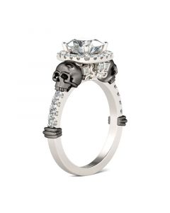 Halo Cushion Cut Sterling Silver Skull Ring
