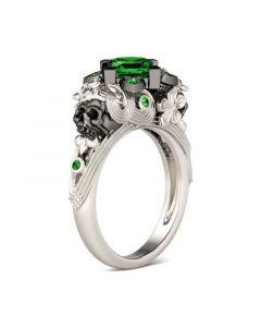 Flower Design Princess Cut Sterling Sliver Two Skull Ring