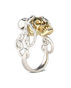 Octopus Round Cut Sterling Silver Skull Ring
