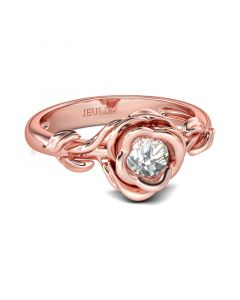 Rose Gold Tone Flower Design Round Cut Sterling Silver Ring