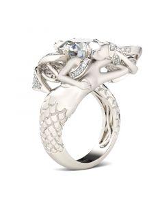 Large Center Stone Round Cut Mermaid Ring