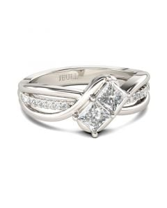 Bypass Princess Cut Sterling Silver Ring
