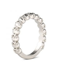 Simple Circle Sterling Silver Skull Ring