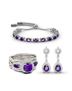 Jeulia Sincere Love Amethyst Sterling Silver Jewelry Set