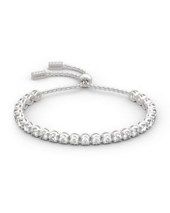 Classic Round Cut Sterling Silver Bolo Tennis Bracelet