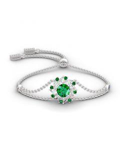 Jeulia Halo Round Cut Sterling Silver Bracelet