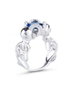 Entwined Radiant Cut Sterling Silver Octopus Ring