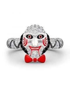 "Jeulia ""Jigsaw Killer's Mask ""Sterling Silver Ring"