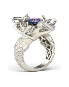 Jeulia  Delicate Cushion Cut Sterling Silver Mermaid Ring