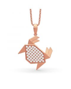 Paper-folding Style Crab Pendant Sterling Silver Necklace