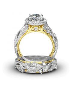 Halo Leaf Design Round Cut Sterling Silver Ring Set