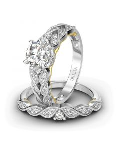 Jeulia Vintage Milgrain Round Cut Sterling Silver Ring Set