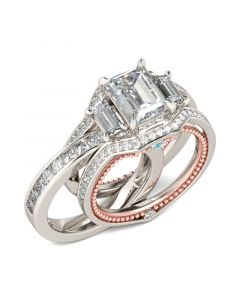 Jeulia Interchangeable Three Stone Emerald Cut Sterling Silver Ring Set