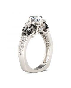 Jeulia European Shank Round Cut Sterling Silver Skull Ring