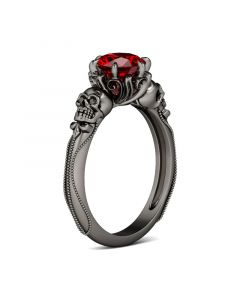 Black Tone Round Cut Sterling Silver Skull Ring
