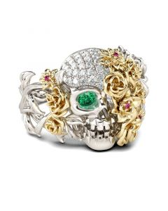 Jeulia Two Tone Floral Round Cut Sterling Silver Skull Ring