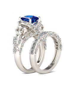 Unique Princess Cut Sterling Silver Skull Ring