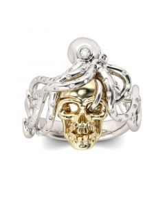 Octopus Round Cut Sterling Silver Skull Ring