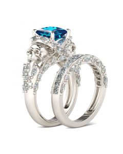 Jeulia Unique Princess Cut Sterling Silver Skull Ring