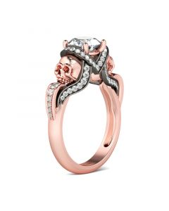 Jeulia Unique Round Cut Sterling Silver Skull Ring