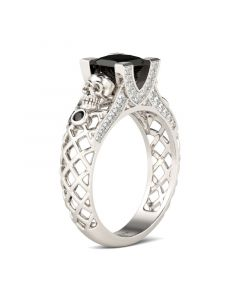 Jeulia Hollow Princess Cut Sterling Silver Skull Ring