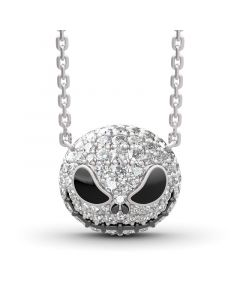"Jeulia ""Pumpkin King"" ""Jack Skull""Sterling Silver Skull Necklace"