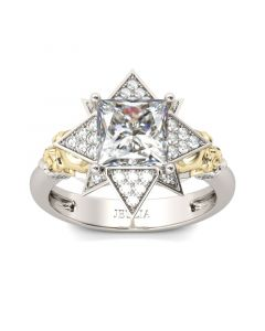Art Deco Princess Cut  Sterling Silver Skull Ring