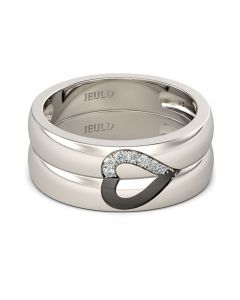 Jeulia Two Tone Bowknot Sterling Silver Women's Band