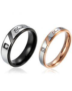 """""""True Love"""" Titanium Steel Couple Rings"""