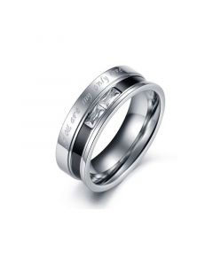 Jeulia Engraved Two Tone Titanium Steel Ring