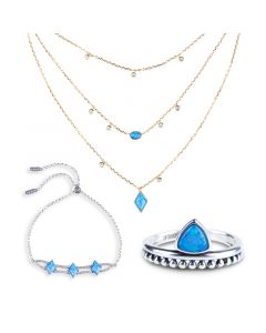 Jeulia Geometry Opal Sterling Silver Jewelry Set
