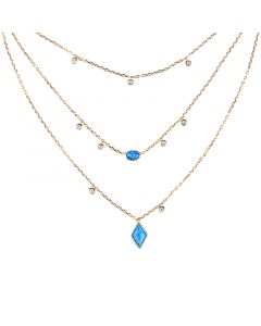 Jeulia Three Wishes Triple Layered Necklace