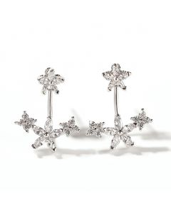 Flower Sterling Silver Ear Jackets