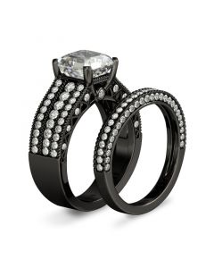 Black Asscher Cut Sterling Silver Ring Set