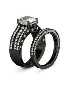 Black Asscher Cut Sterling Silver Ring Set
