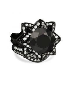Lotus Halo Round Cut Sterling Silver Ring Set