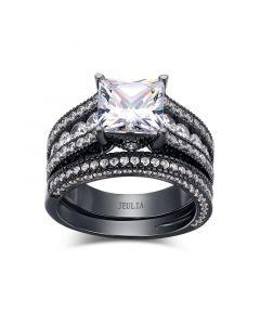 Black Vintage Princess Cut Sterling Silver Ring Set