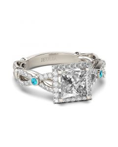 Jeulia Vintage Halo Princess Cut Sterling Silver Ring