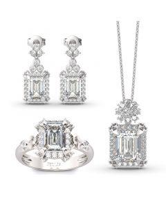Jeulia Vintage Flower Halo Emerald Cut Sterling Silver Jewelry Set