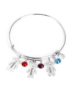 Bangle Bracelet with Kids Charms in Sterling Silver