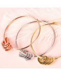Bangle Bracelet with Heart Shape Pendants in Sterling Silver