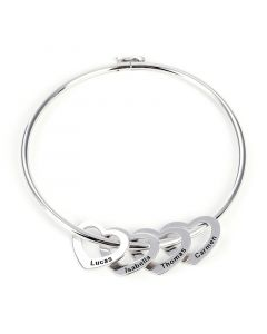 Bangle Bracelet with Heart Shape Pendants in Sterling Silver
