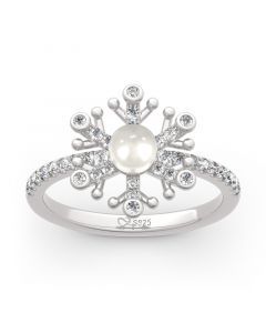 Jeulia Snowflake Cultured Pearl Sterling Silver Ring